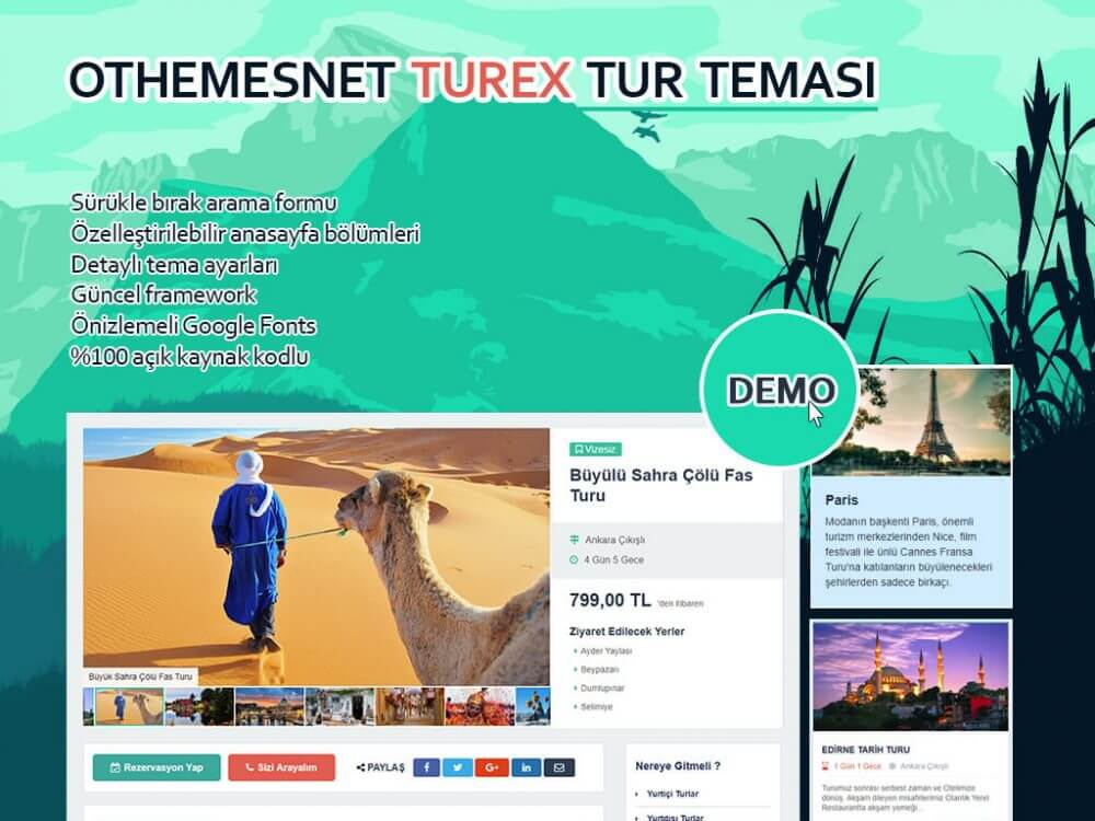 OthemesNET Turex Tur Acentası Teması