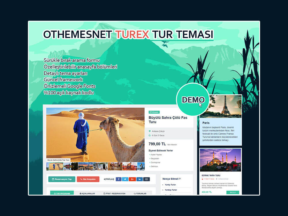 OthemesNET Turex WordPress Tur Temasi Tur Ajentasi Yazilimi