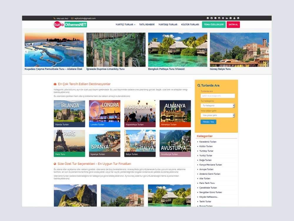 OthemesNET Turio WordPress Tur Seyahat Temasi Anasayfa 1