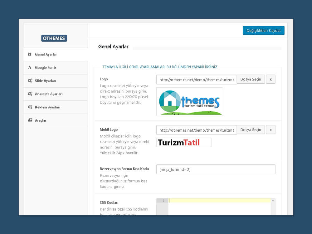 OthemesNEt WordPress Turizm Tatil Teması Admin Paneli
