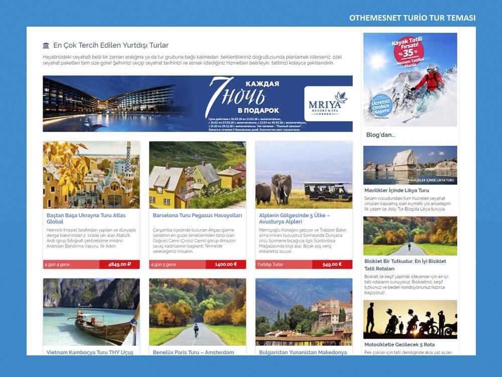 OthemesNET WordPress Turio Tur Teması Anasayfa