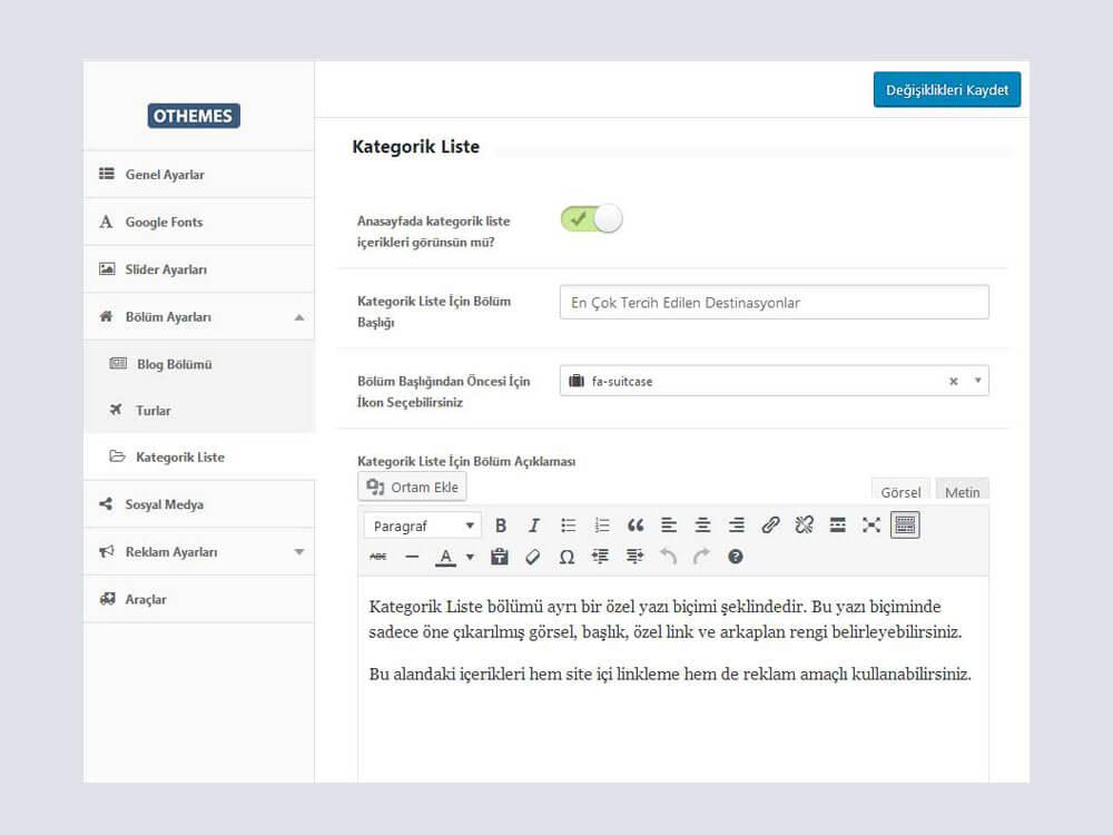 OthemesNET Turio WordPress Tur ve Seyahat Teması - Kategorik Liste Ayarları