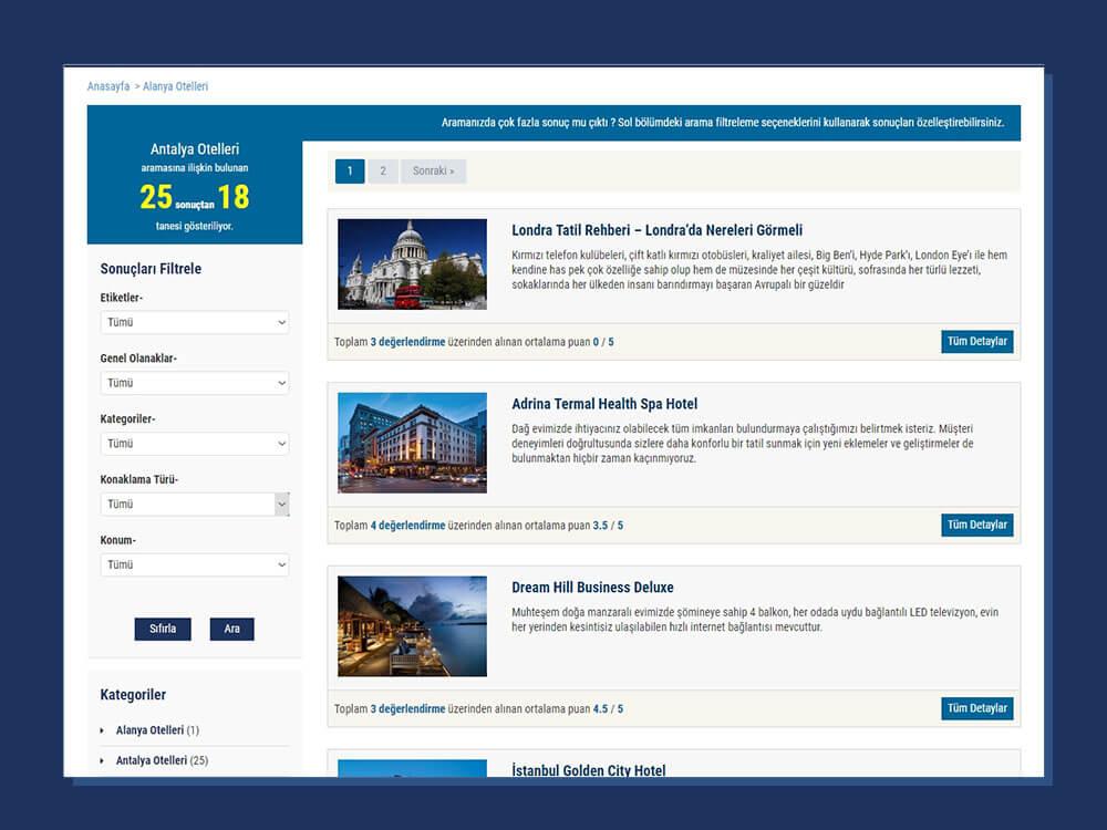 OtelPansiyon Teması Arşiv Sayfası