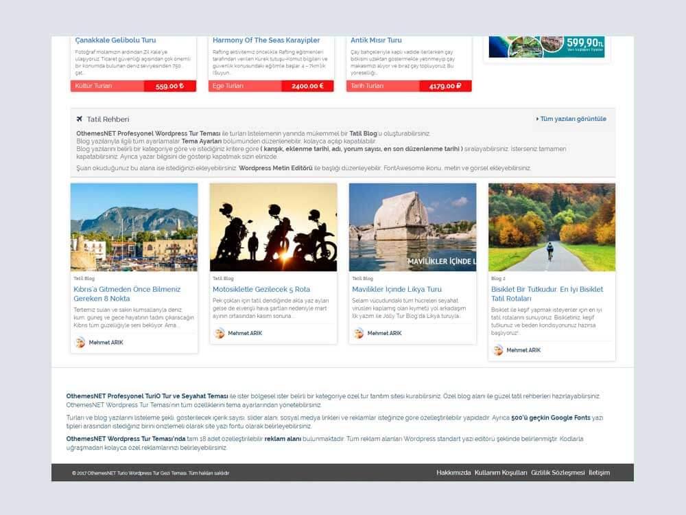 OthemesNET Turio WordPress Tur Seyahat Temasi Tatil Rehberi