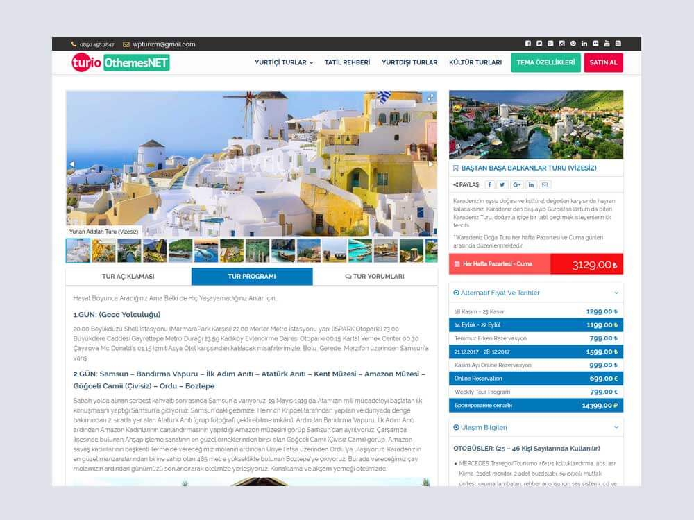 OthemesNET Turio WordPress Tur Seyahat Temasi Tur Sayfasi
