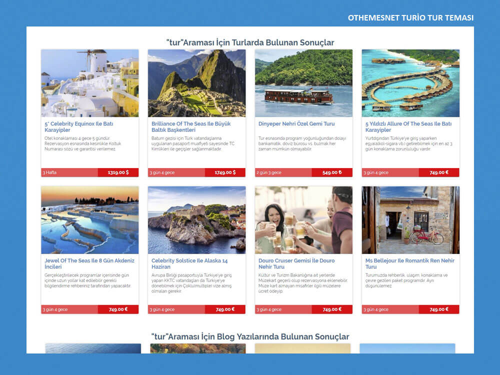 OthemesNET WordPress Turio Tur Teması Arama Sonuçları
