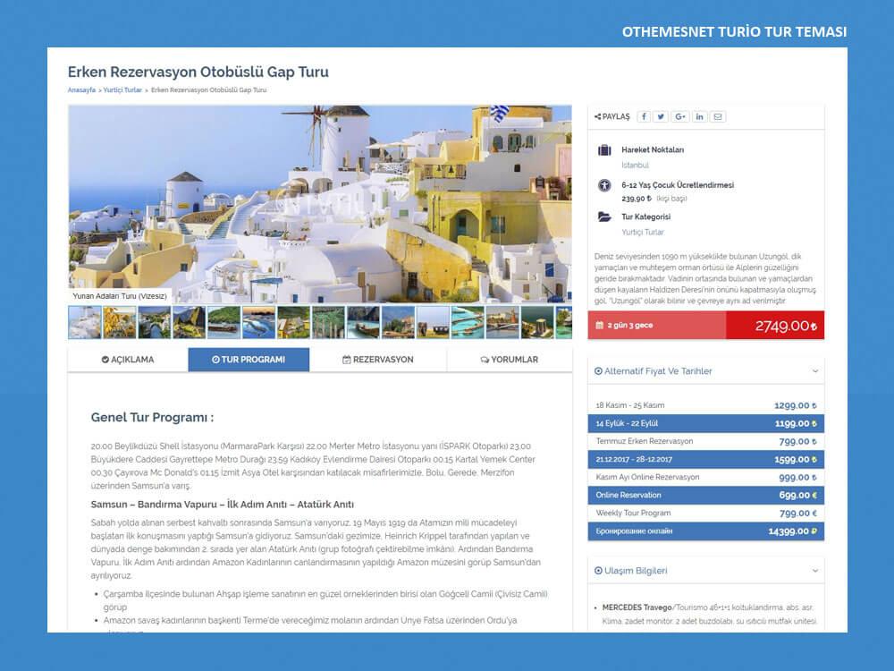 OthemesNET WordPress Turio Tur Teması İçerik