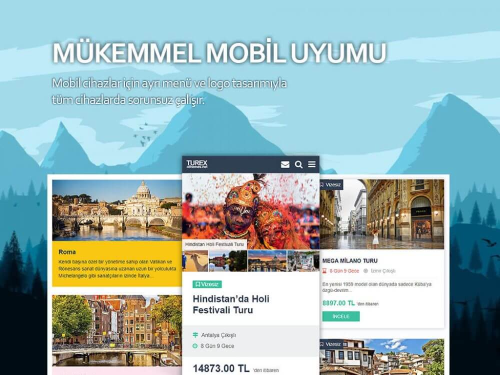 Turex WordPress Tur Teması Mükemmel Mobil Uyumu