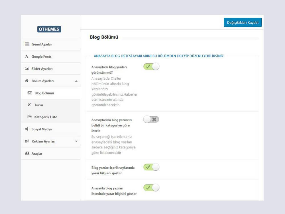 OthemesNET Turio WordPress Tur ve Seyahat Teması - Blog Bölümü Ayarları