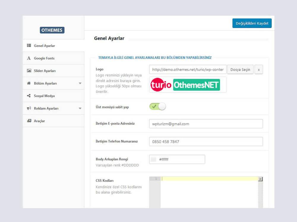OthemesNET Turio WordPress Tur ve Seyahat Teması - Genel Ayarlar
